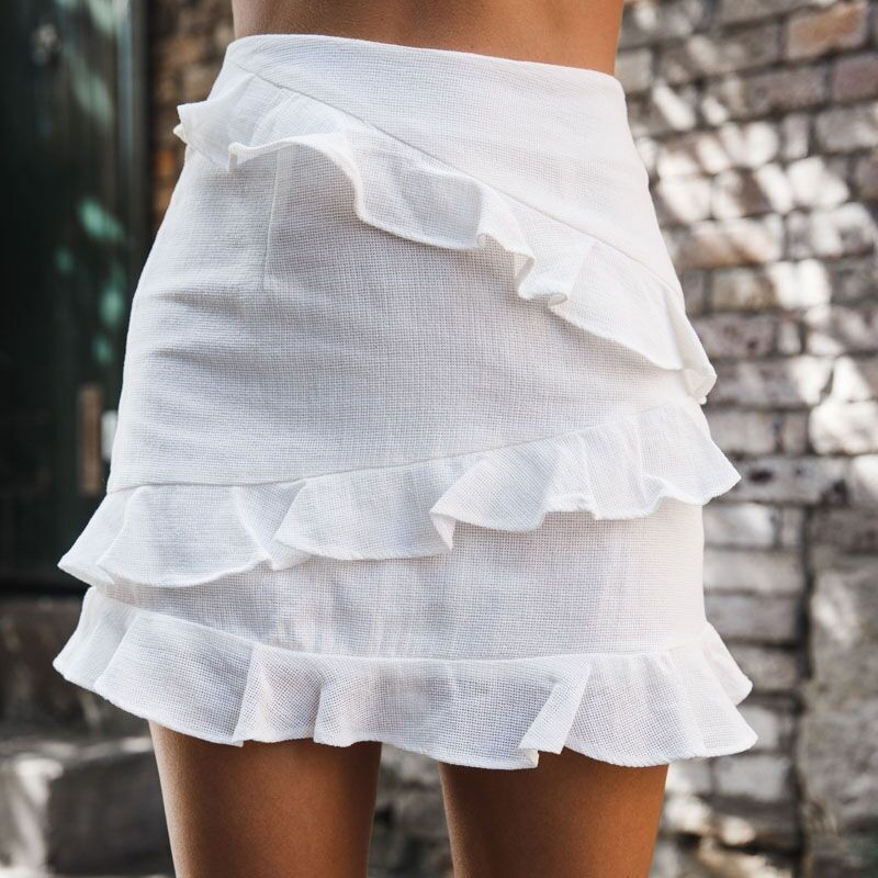 2018 Elegant Women White Skirts High Wasit Sexy Ruffles Lacework Mini Skirts Female Cheap Clothes China Party Package Hip Skirts