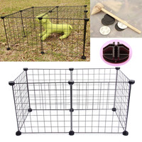 6 Pcs Assembleable Metal Cage Pet DIY Dog Cat Fence Exercise Playpen Kennel Iron Fence For Small Pets
