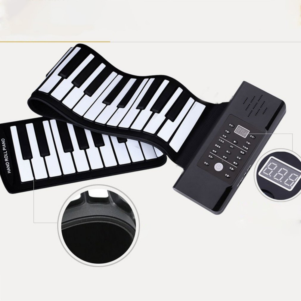 Portable 88 Keys Keyboard Piano Silicone Flexible Roll Up Piano Foldable Keyboard Hand-rolling Piano piano lounge mp3
