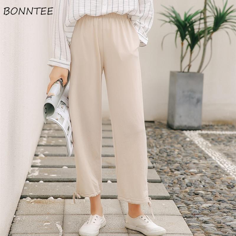 Pants   Women Elastic Waist Wide Leg Ladies Summer Clothes Chic Womens Korean Style Student   Pant   Loose Leisure Ankle-Length   Capris