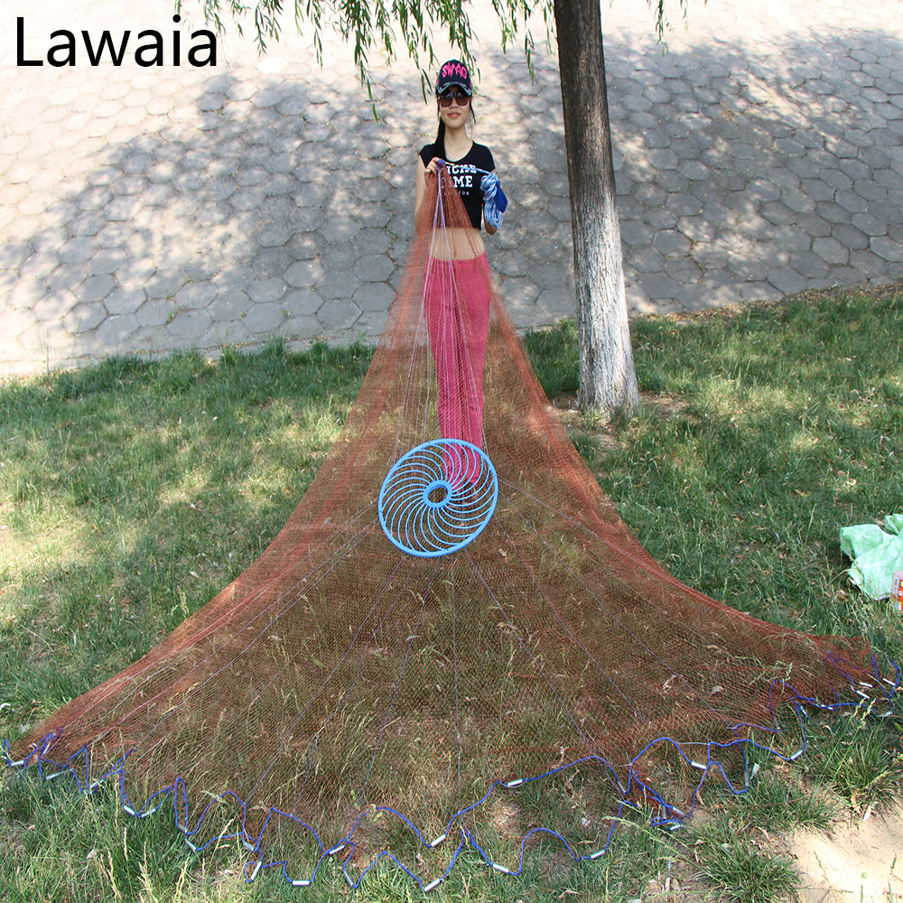 Lawaia 3m American Fishing Net,easy Cast Net,galvanized Iron Pendant Sinkers,tire Line Rotary Screen Fishing Network Cast Net quality gill net h5 l95m 3layer 3 5 and 19cm mesh sink net fish trap sticky fishing net outdoor pesca reservoir fishing network