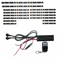 12V 14PCS RGB 5050SMD LED Car Motorcycle Glow Lights Flexible Neon Strips Kit Chopper Frame With