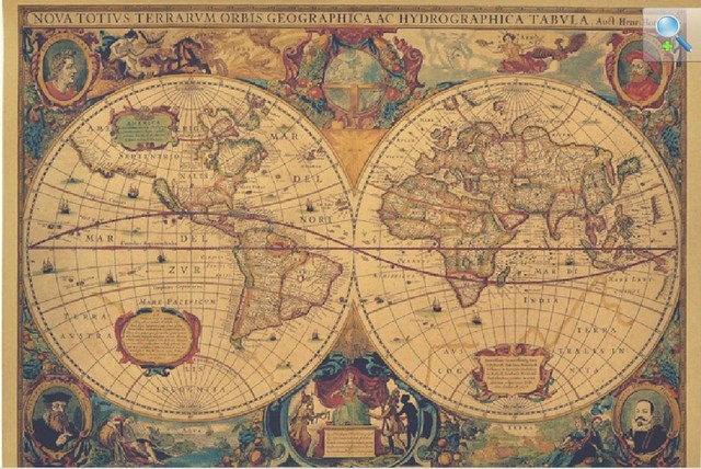 New 2014 Vintage Poster Retro Nautical Map 1630 Great