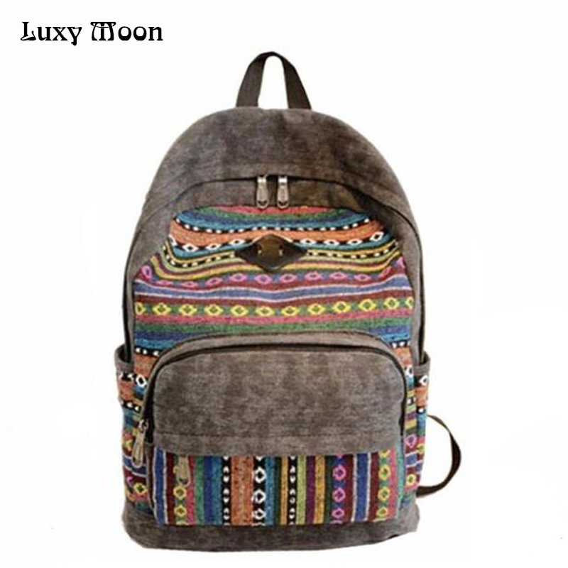 Canvas Backpack Rucksacks School-Bags Teenagers Vintage Girls Femininas Unisex for Hot