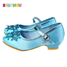 Girls blue dress shoes high heels for children summer casual girls fashion snow crystal princess silver size 24-36