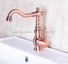 Antique Red Copper Bathroom Vanity Vessel Sinks Mixer Bathroom Basin Sink Faucet Tap Cold And Hot Water Tap Knf135 недорого