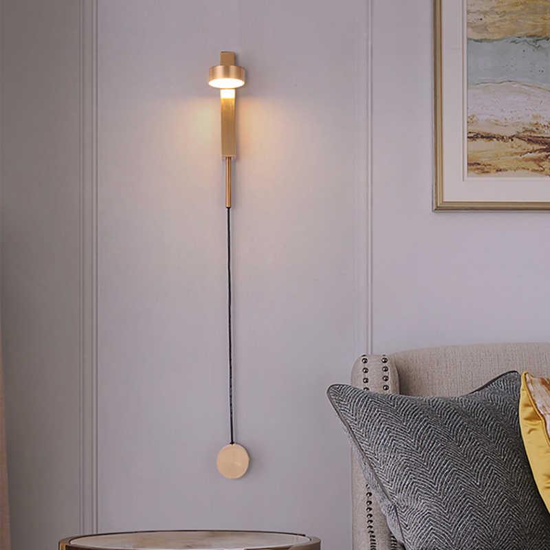 Скандинавский современный настенный светильник роскошный переключатель с регулировкой яркости простой гостиной прохода коридора спальни творческой личности прикроватный настенный светильник
