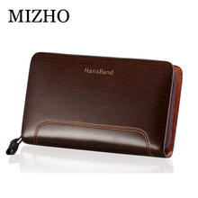 цена на Men Genuine Leather Wallet Large capacity double zipper Purse Casual Long Business Male Clutch Wallets Large capacity Clutch bag