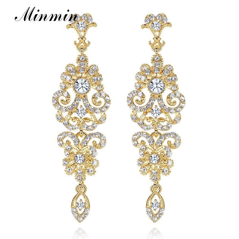 Minmin Luxury Chandelier Earrings for Women Gold/Silver/Black Crystal Rhinestone Bridal Long Earrings Wedding Jewelry MEH948