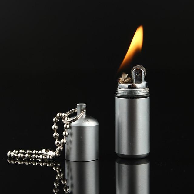Outdoor Mini Compact Kerosene Lighter Capsule Gasoline Lighter Inflated Key Chain Petrol Lighter Grinding Wheel Lighter Outdoor