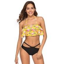 Flamingo Print Bikini Set Women Low-waisted Lace Up Two Pieces Flounce Summer Brazilian Swimwear 2019 Bathing Suits Swimsuits cute sunflower print flounce high low skirt for women