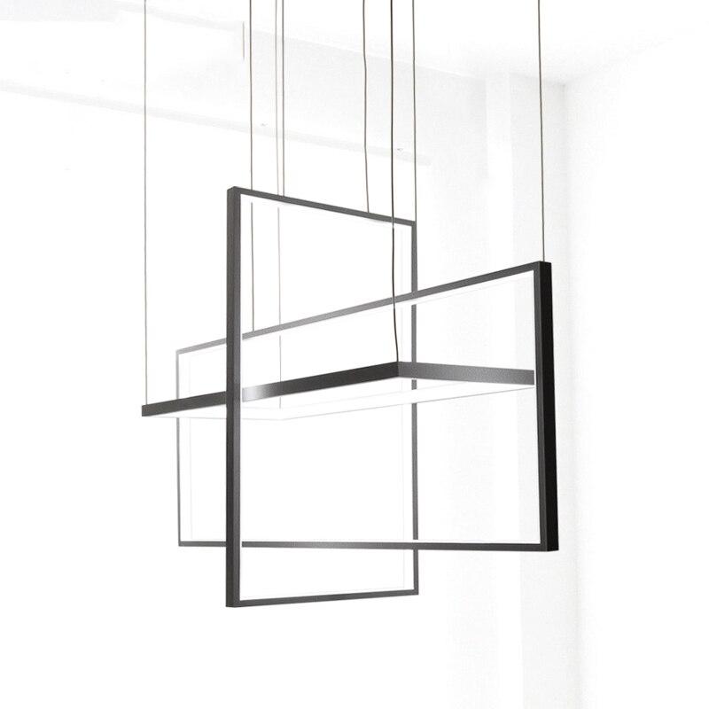 Cercle Pendentif Lumières pour salon Chambre bureau et cuisine suspensions lumineuses lustre de plafond moderne pendentif noir Lampe led