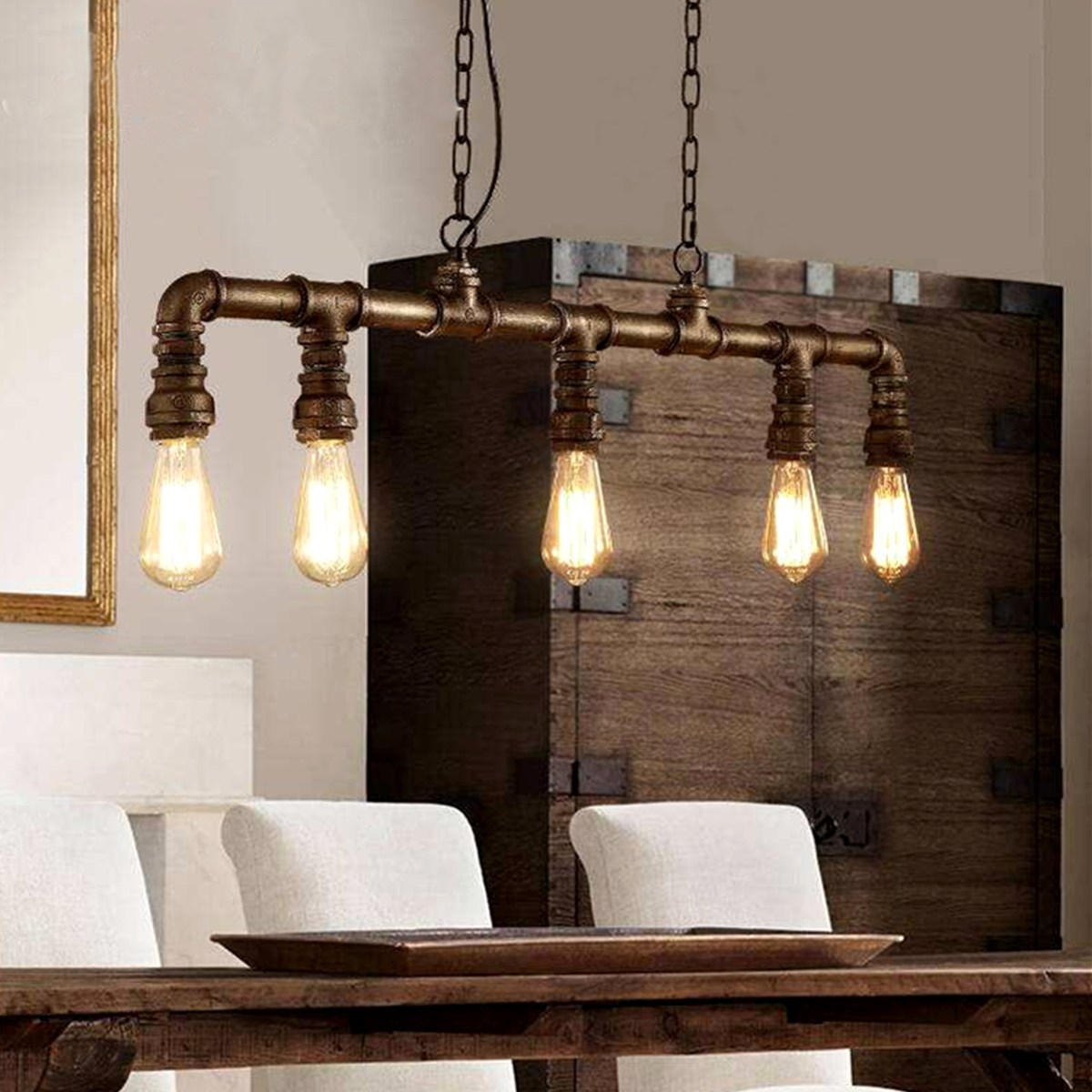 Vintage 110-220V Retro Bar Cafe Industrial Water Pipe Pendant Lamps Light DIY Adjustable Hanging Coffee Shop Decorative Light edison industrial vintage retro simple type flowers crystal glass droplight cafe bar club hall coffee shop bedroom bedside