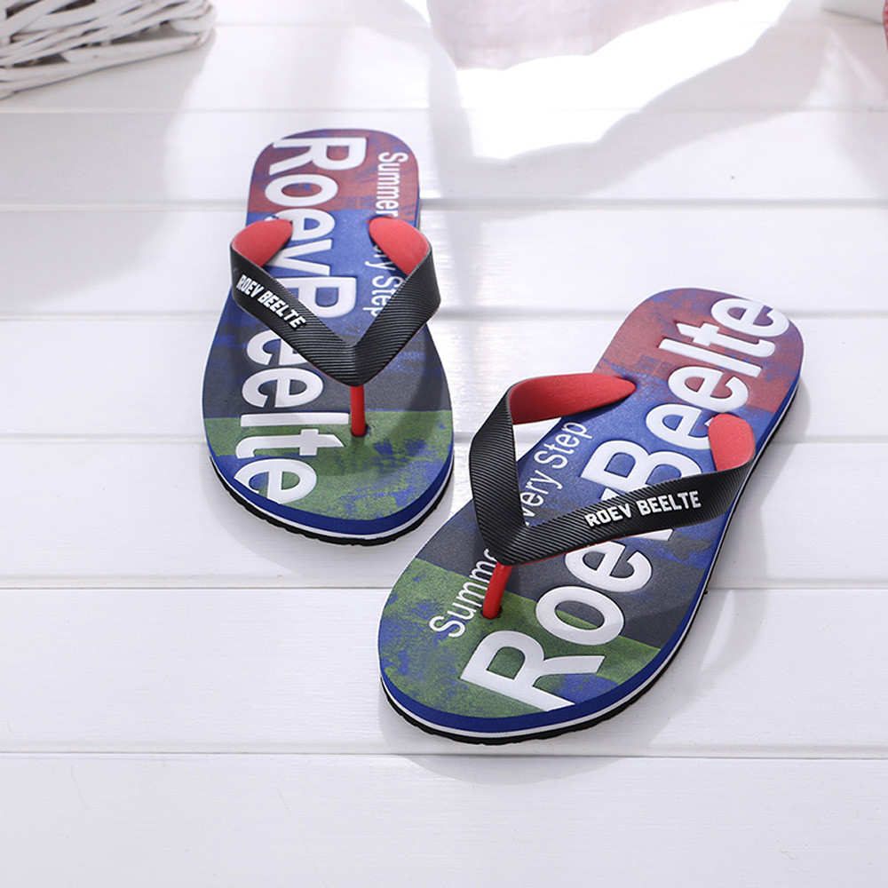 Men Flip Flops Flat Slippers Letters RMale Mixed Color Slippers Men Casual EVA Shoes With Home Beach &Home Sandals Big Size
