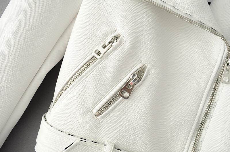 2018 Hot Sale Women Fashion Soft Faux Leather Jackets Lady Snakeskin Grain PU Zipper Black Pink White Coat Outerwear with Belt