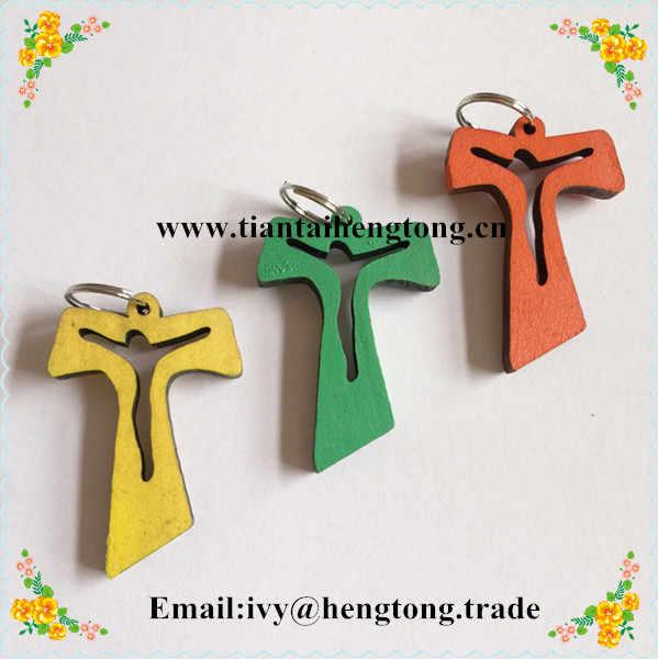 Atacado rosário de madeira acessório, pingente de cruz do rosário, pequeno em forma de t cruz, religioso rosário crucifixo