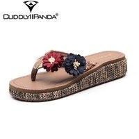 e6287b248 CuddlyIIPand 2019 Summer Cane Wedge Women Flip Flops Flower Women Slippers  Rattan Grass Beach Shoes Fashion