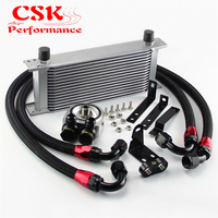 Aluminum 16 Row Engine Oil Cooler w/ Filter Adapter Kit Fits For Honda S2000 F20 F22 Black/Silver