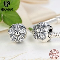 Sterling Silver 925 Dazzling Daisies Clip Charm Fit Pandora Bracelet Necklace Jewelry Accessories PAS188