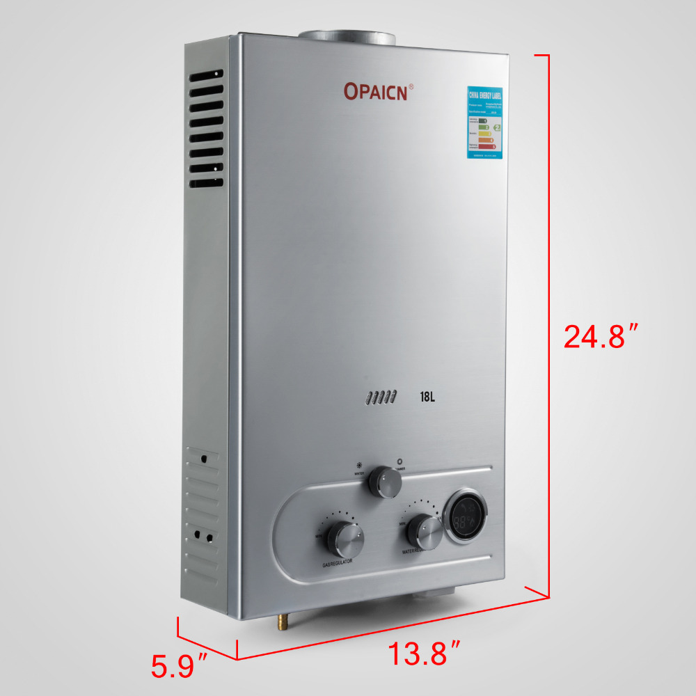 18L 5GPM Instant Tankless Hot Water Heater LPG Propane Gas 32KW Boiler w// Shower