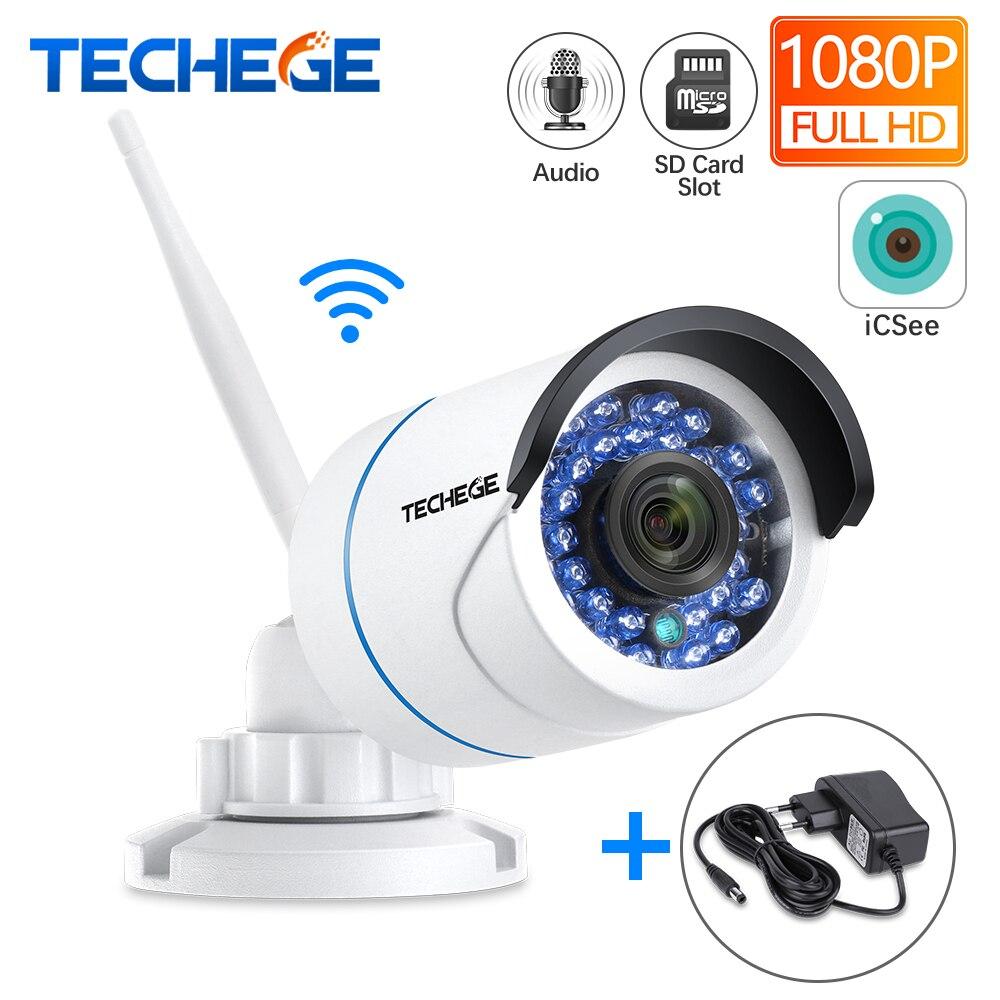 Techege HD 1080P Áudio Wired Night Vision Sem Fio Wi-fi Ao Ar Livre Câmera IP 2MP CCTV Câmera Slot Para Cartão SD Max 64G w Adaptador Livre