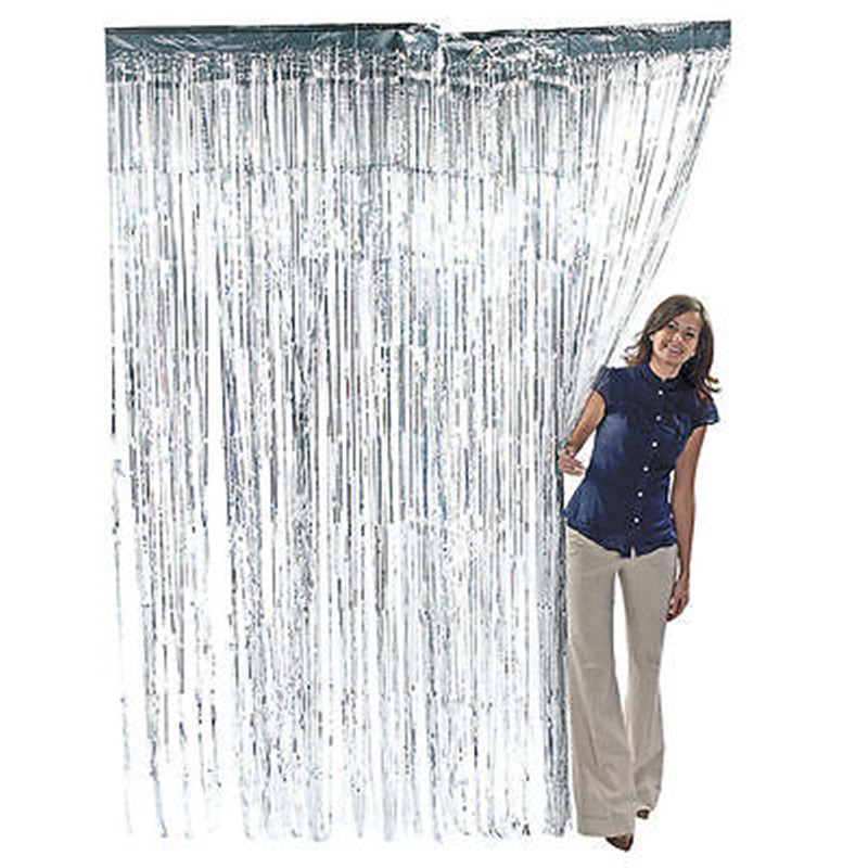 3 ft. x 8 ft Metallic Silver Foil Fringe Curtain Shimmer Curtain Birthday Decor New Christmas New Year Decorations