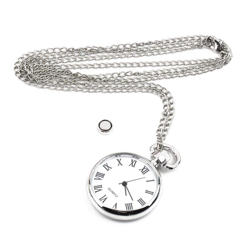OUTAD 1pc Quartz Round Pocket Watch Dial Vintage Necklace Silver Chain Pendant Antique Style Personality Watches Gift Relogio