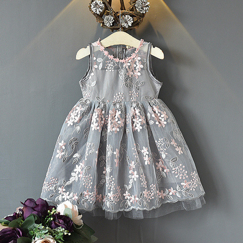 Hurave European and American Style Baby Girls Clothes Children Sleeveless dress bow boutique girls embroidery pageant dresses hurave 2018 baby girls clothes children sleeveless crew neck mesh tutu dresses causal striped cotton infant lace shirts dress