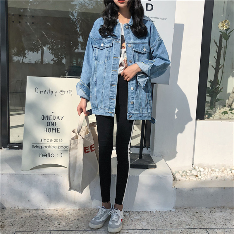 RUGOD Solid Turn-down Collar Jean Jacket for Women Loose Casual Blue Fashionable Women Coats Female outwear Denim Feminine 3