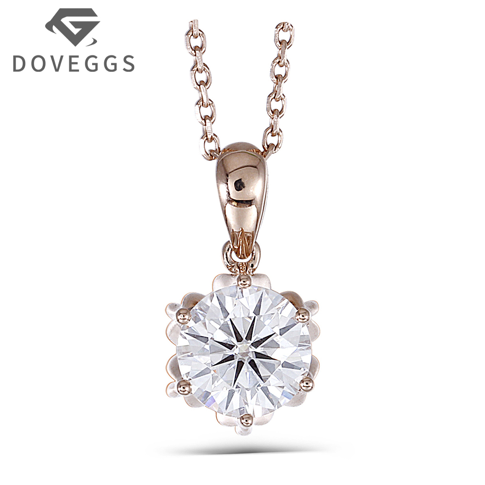 DOVEGGS 18K 750 Rose Gold 1CTW 6.5mm F Color Moissanite Flower Shaped Pendant Necklace with 18 Inch 18K Rose Gold Chain