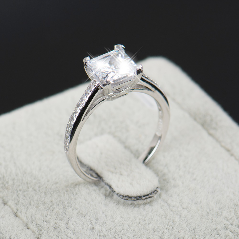 2016 rainbow jewel engagement aaaaa cubic zircon fashion rings real 925 sterling silver wedding ring bridal - Cheap Wedding Ring