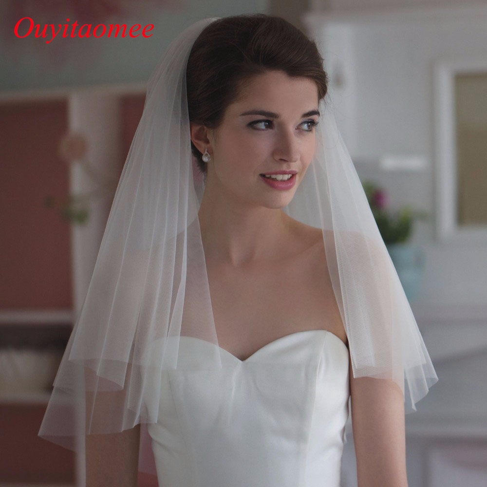 Elegant short bridal wedding veils two layer 75cm and 100cm with combe white veil for wedding party tulle veil 2017 new arrival