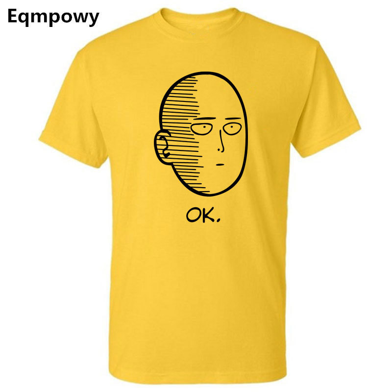 Eqmpowy summer 100% cotton ANIME One Punch Man Printed men T shirt Fashion cool confortable men's Tshirt casual t-shirt for men