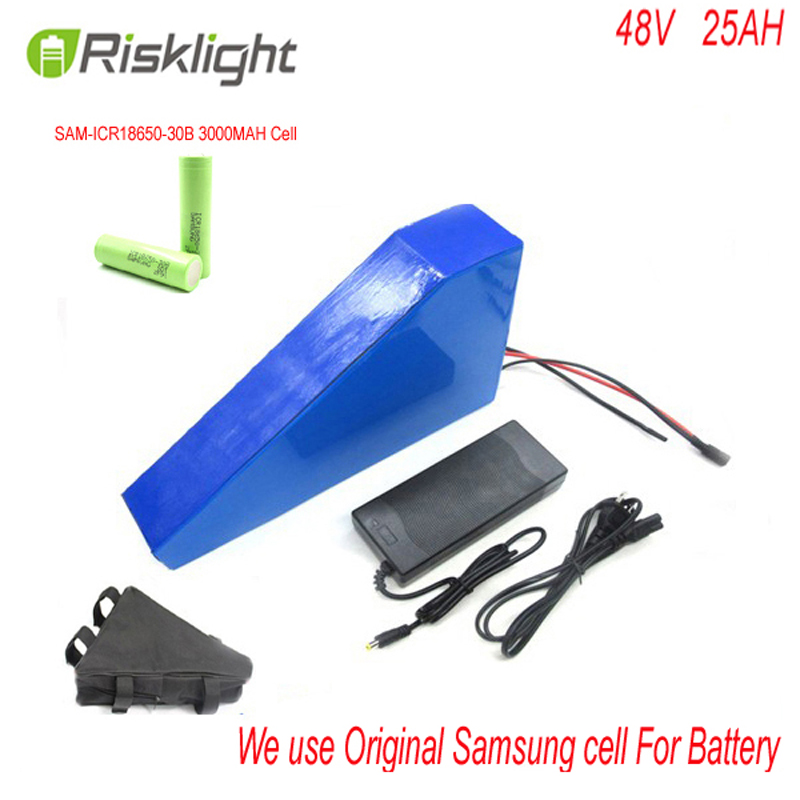 Triangle style electric bike battery 48V 25Ah with 48v 25a electric bicycle li-ion battery 48v lithium battery For Samsung Cell free customs taxes electric bike battery 48v 30ah triangle battery 48v 1000w electric bike lithium battery for panasonic cell