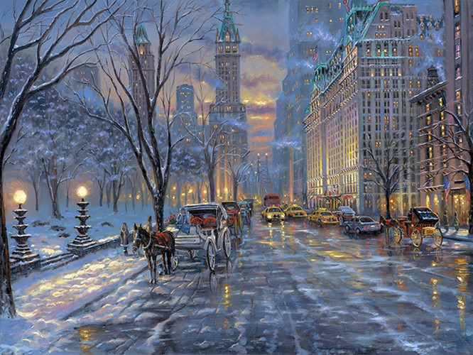 free shipping pastoral snow light city street landscape canvas prints oil painting printed on canvas wall art decoration picture
