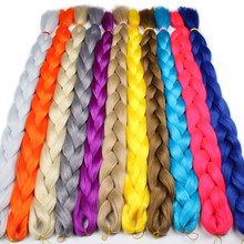 Leeven 82Inch 165g Synthetic jumbo braids hair kanekalon braiding pink blue purple Hair Extensions pure color Fiber(China)