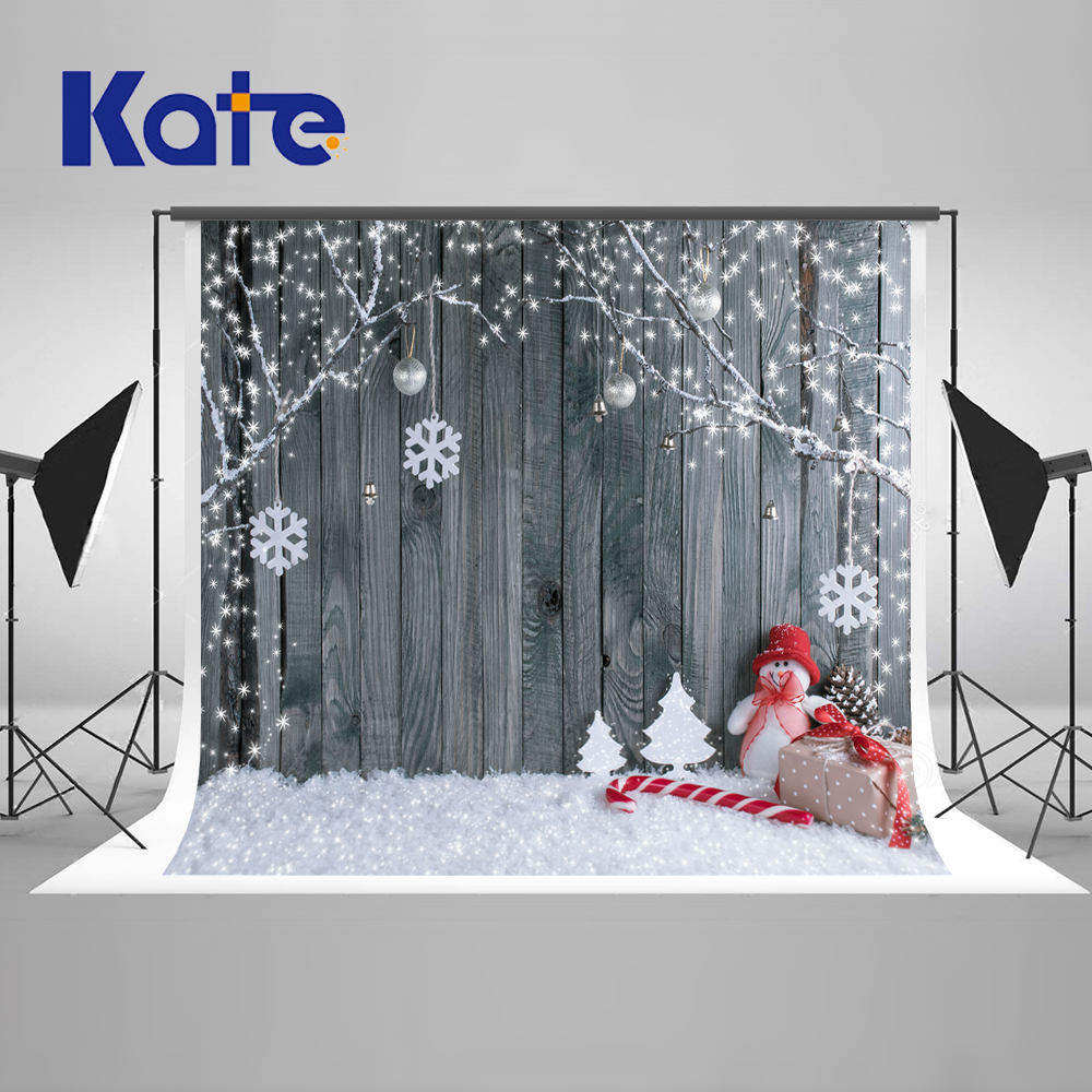 Kate Gray Wood Backgrounds For Photo Studio Christmas With Snowman Scenic Photography Backdrops Children Gingerbread Background retro background christmas photo props photography screen backdrops for children vinyl 7x5ft or 5x3ft christmas033
