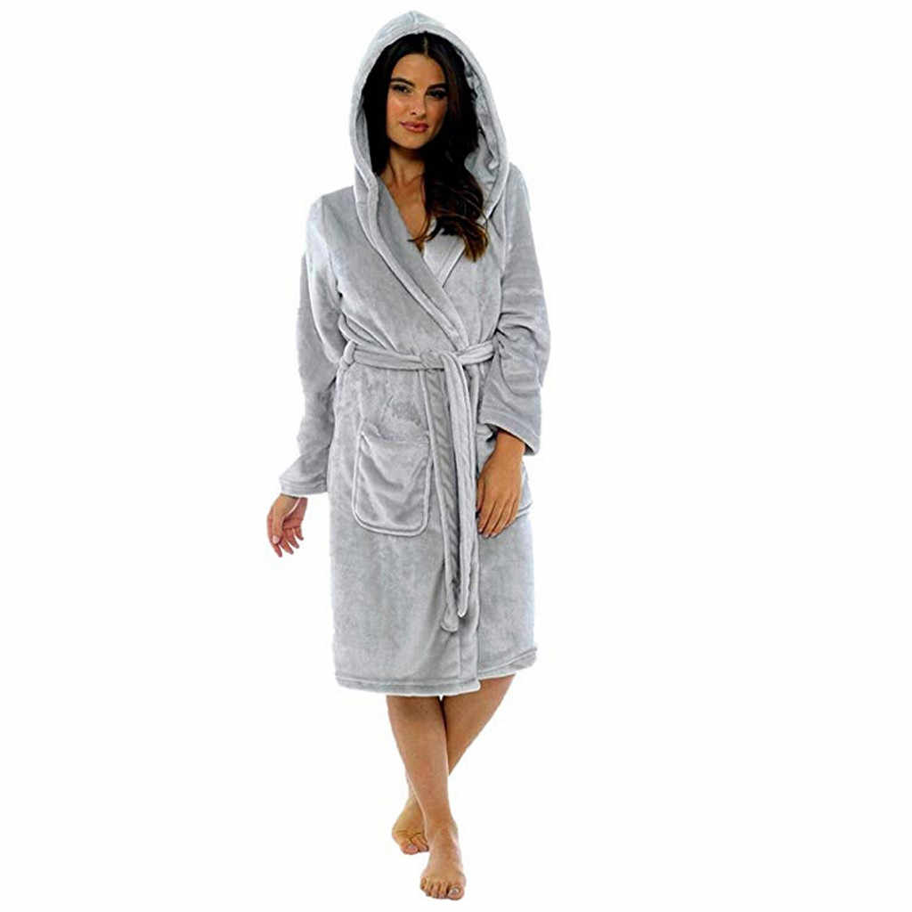 Women Winter Plush Lengthened Shawl Bathrobe Home Clothes Long Sleeved Robe Coat Underwear plus size