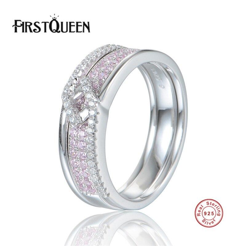 FirstQueen authentique 925 en argent Sterling Double couche déclaration anneau pour les femmes de fiançailles S925 argent exagérer bijoux