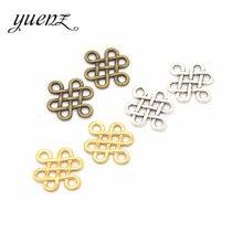 Yuenz 40 pçs antigo prata cor liga chinês nó encantos pingentes colar contas para diy buraco grande contas pulseiras encantos j108