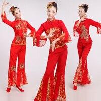 Топ + Брюки для девочек + HEDWEAR Для женщин Yangko танец костюм Китайский Новый год танцевальный костюм женский вентилятор танцевальные костюмы т...
