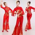 Top + Calça + Hedwear Mulheres Fã Yangko Dança Traje Do Ano Novo Chinês Dança Traje Feminino Trajes de Dança do Tambor Da Cintura roupas 89