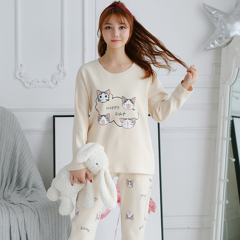de03989239 Two Piece Set Sleepwear Cartoon Long Sleeve Cute Cat Print Top And Pants Pajama  Sets pijamas para mujer-in Pajama Sets from Underwear   Sleepwears on ...