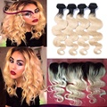 Ombre Hair Extensions Brazilian Body Wave 4Bundles With 13x4 Lace Frontal T1b/613 Dark Roots Blonde Ombre Human Hair Weaves