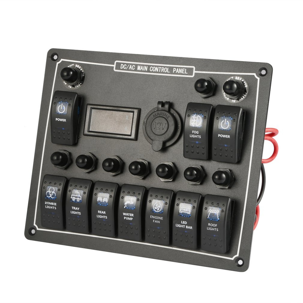 10 Gang Waterproof Car Auto Boat Marine LED AC/DC Rocker Switch Panel Dual Power Control Overload Protection 15A DC Output