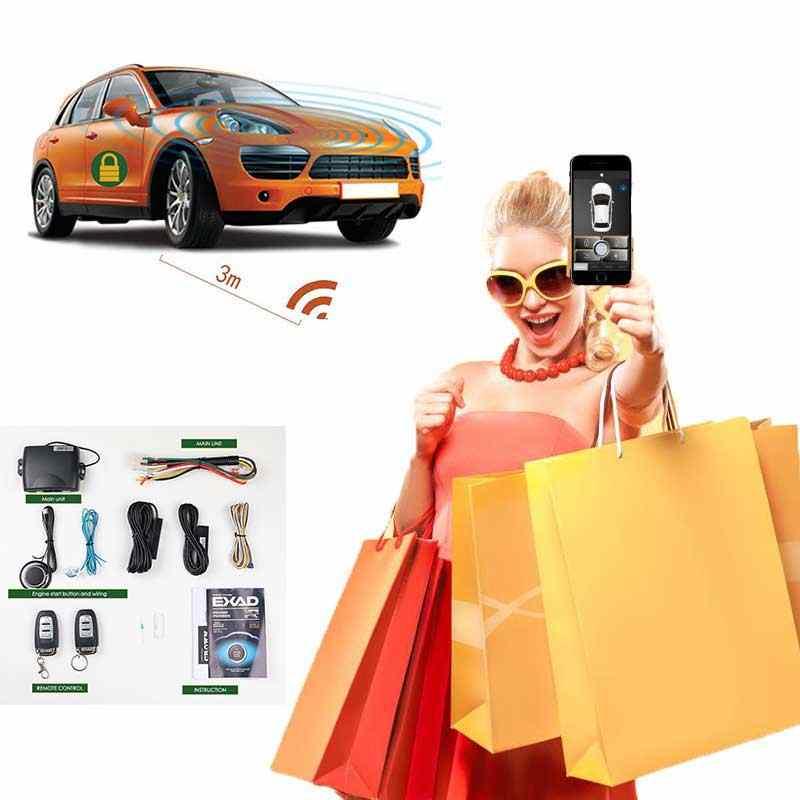 Auto Iniciar o APLICATIVO Remoto Chave Inteligente Keyless Entry PKE Sistema de Alarme de Carro Botão de Parada de Início Do Sistema Botão Central Controlo Remoto bloqueio