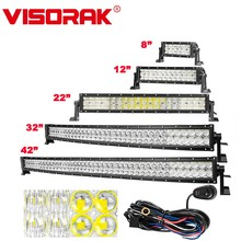 VISORAK 8 14 22 32 42 Straight/Curved 5D LED Light Bar Offroad Truck 4x4 For 4WD ATV Car SUV Boat