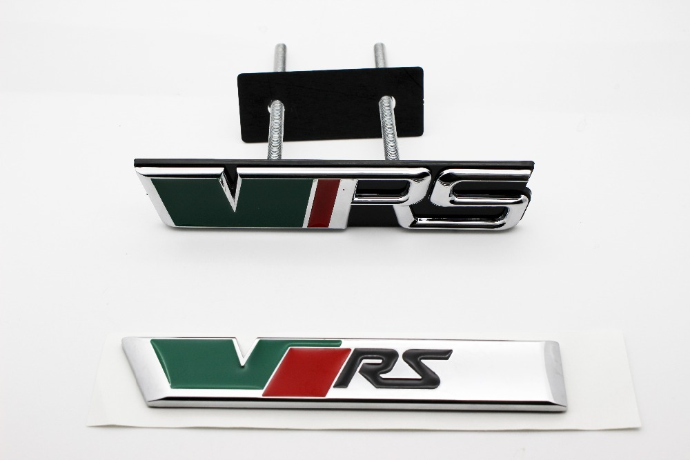 2PC VRS for Skoda 2009 Octavia MK2 VRS Boot GRILLE Grill Car Badge Emblem CHROME