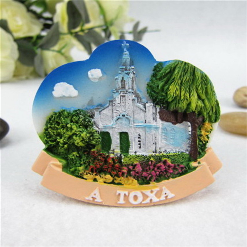 Decorative Fridge Magnetic Stickers Spain Galicia Church of isla de La Toja Island Church Natural Scenery Travel Souvenir Gifts