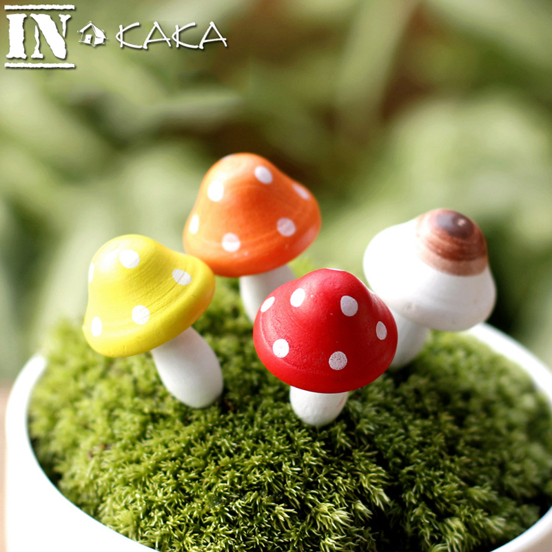 Multi color Mini wooden mushroom model Micro landscape fairy garden terrarium figurine bonsai ornaments <font><b>Decoration</b></font> miniature DIY